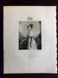 After Hayter 1846 Antique Portrait Print. Queen Victoria at the Age of 18